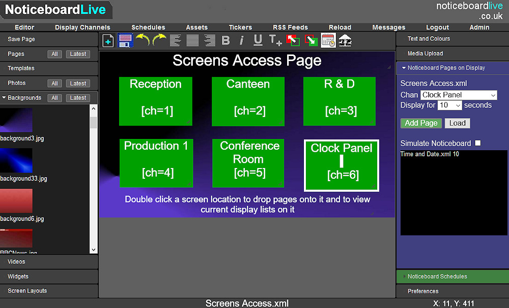 Page editor used to create signage system control panels