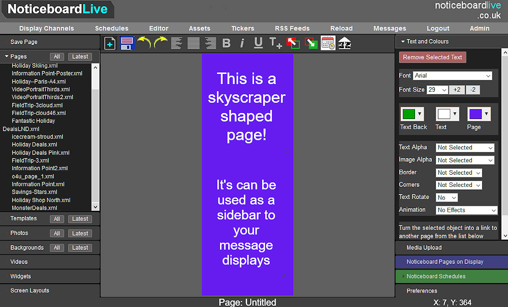 Signage editor creating skyscraper banners