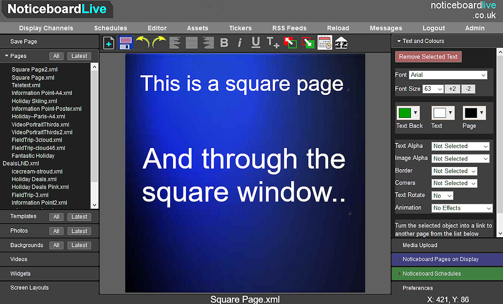 Signage editor in square page mode