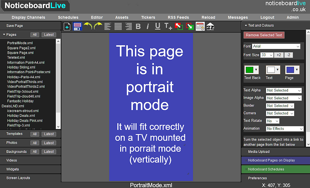 Noticeboard Editor creating portrait pages
