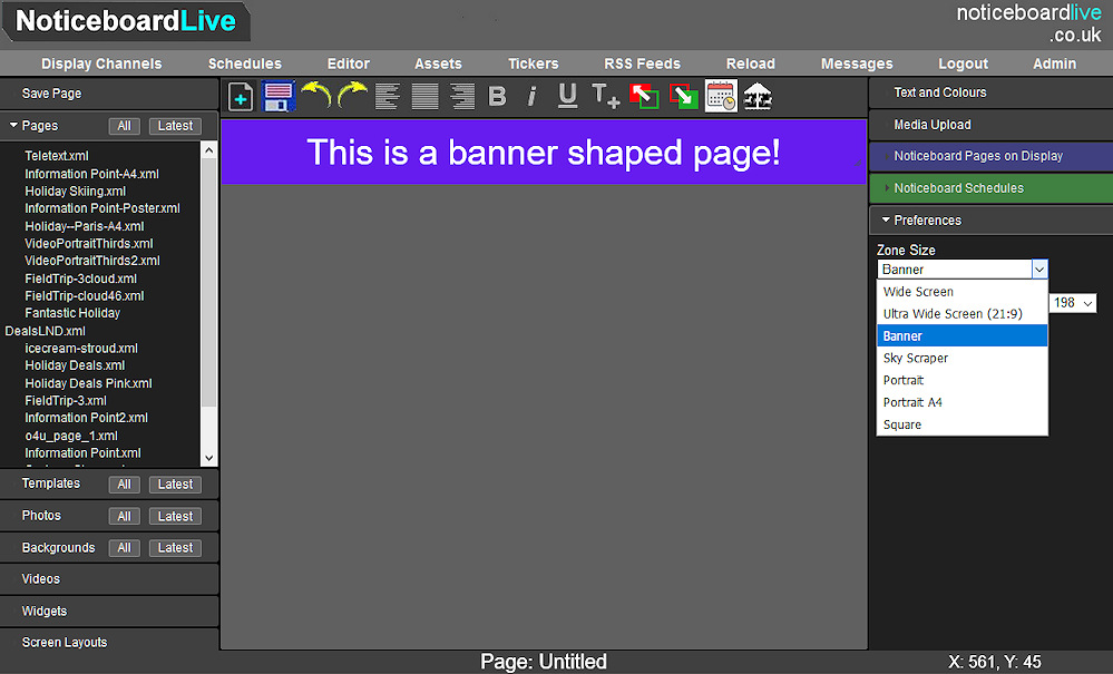 Editor showing banner pages