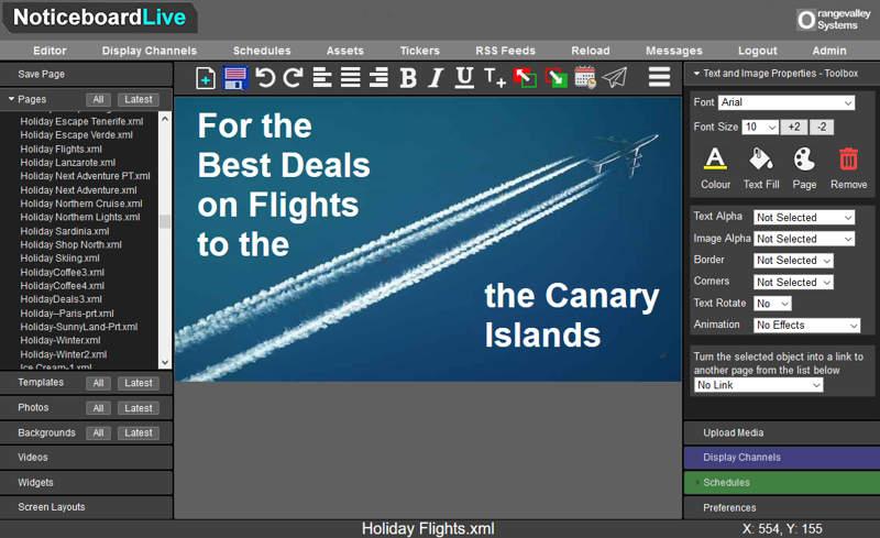 digitalsignage page editor