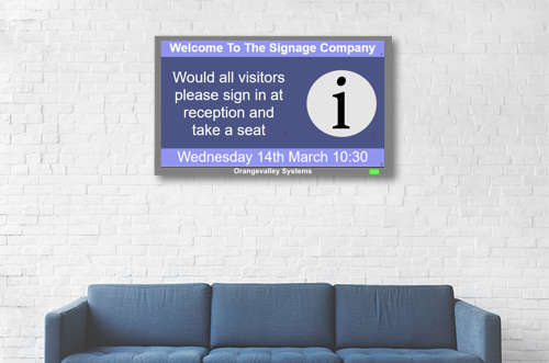 digital visitor welcome screen