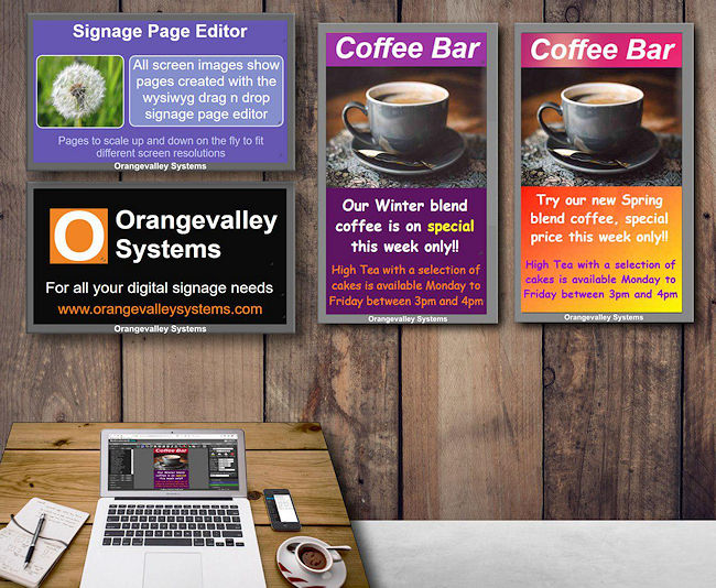 Screens showing content created with our signage editor