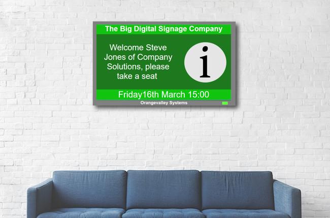 Digital signage reception room screen