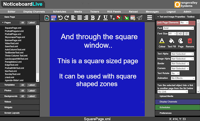 Noticeboard page editor for square pages or slides