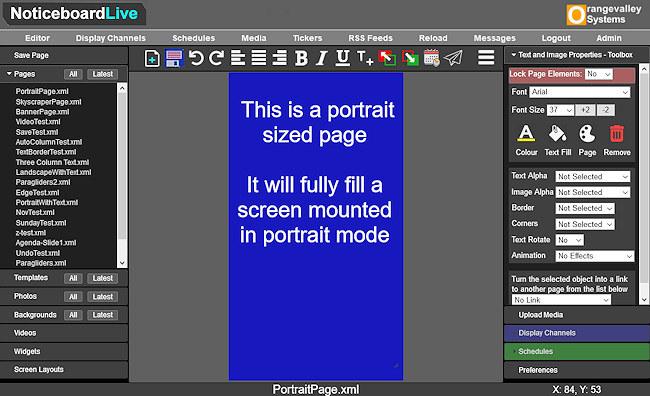 Noticeboard portrait page editor