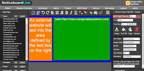adding an external website to a signage screen