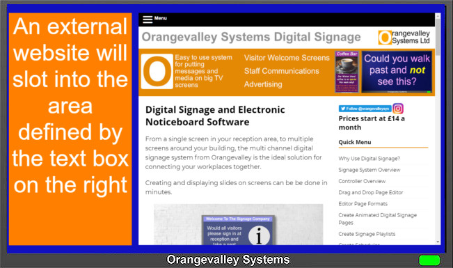 image of a signage screen showing an external websit