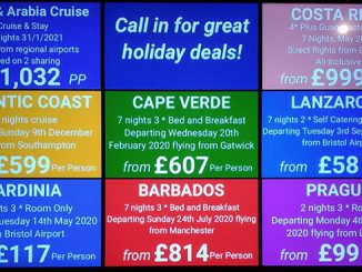 Holiday offers on a digital signage screen