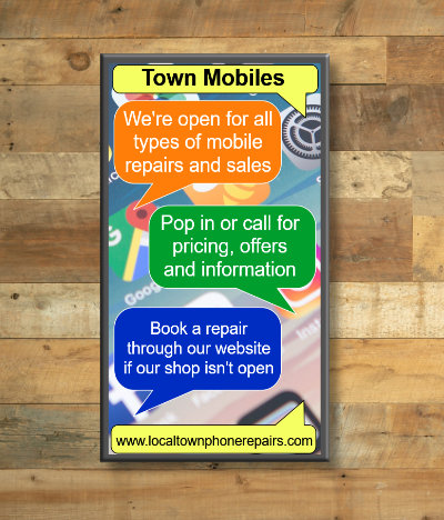 Signage for a phone shop