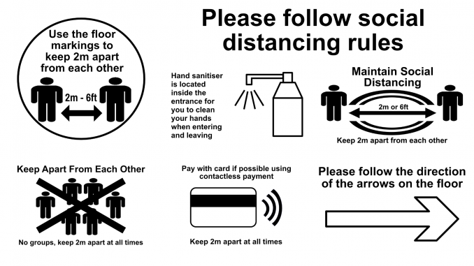 Multiple social distance safety images