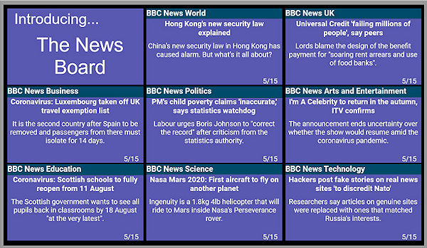 Signage screen showing 8 RSS news feeds