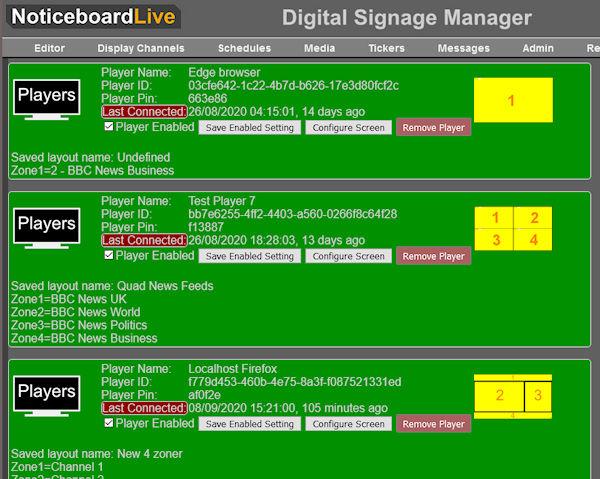 Signage screen configuration