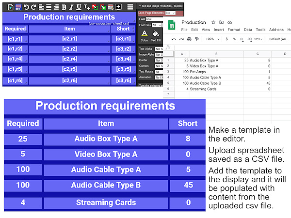 Import factory data from a spreadsheet