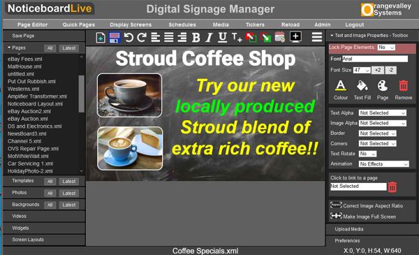 digital signage page editor
